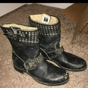 frye studded moto boots 10